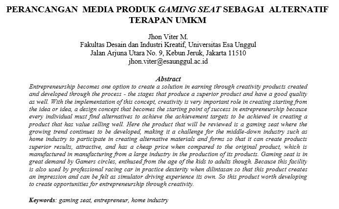Perancangan Media Produk Gaming Seat Sebagai Alternatif Terapan UMKM