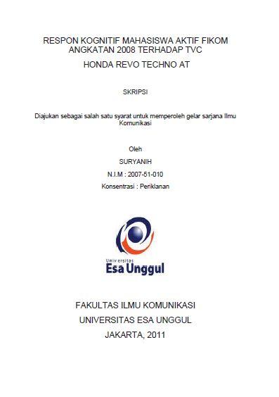 Respon Kognitif Mahasiswa Aktif Fikom Angkatan 2008 Terhadap TVC Honda Revo Techno AT