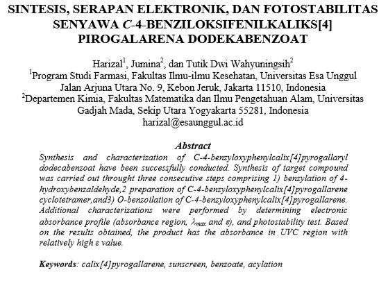 Sintesis, Serapan Elektronik, Dan Fotostabilitas Senyawa C-4-Benziloksifenilkaliks[4] Pirogalarena Dodekabenzoat