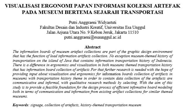 Visualisasi Ergonomi Papan Informasi Koleksi Artefak Pada Museum Bertema Sejarah Transportasi