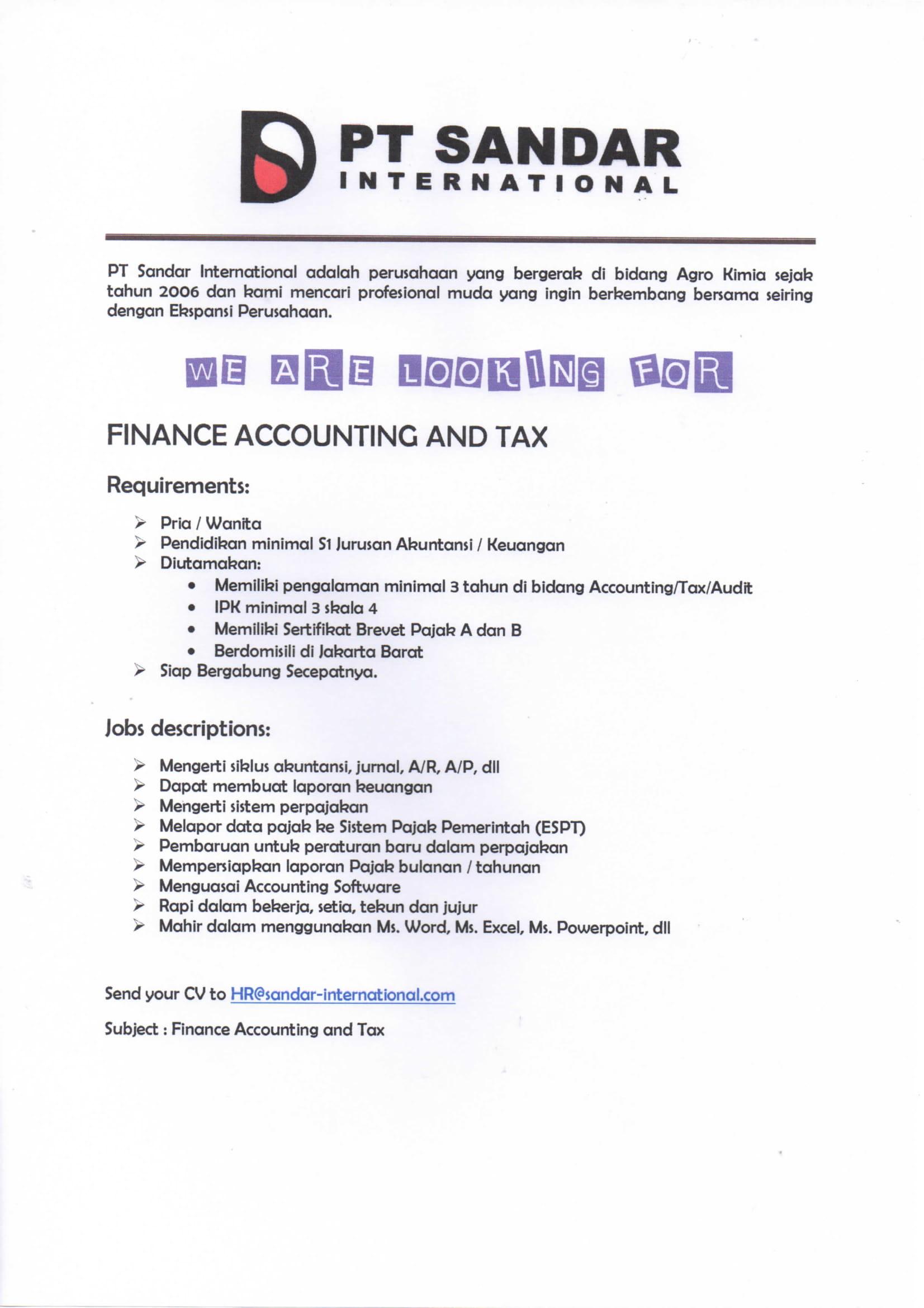 Lowongan Kerja PT. Sandar Internasional