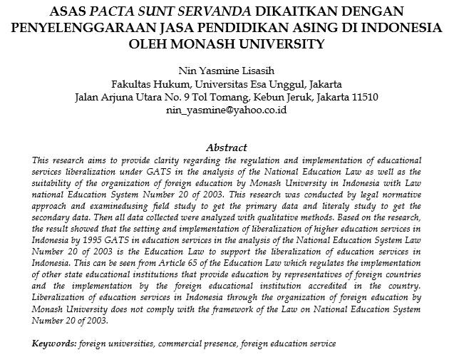 Asas Pacta Sunt Servanda Dikaitkan Dengan Penyelenggaraan Jasa Pendidikan Asing Di Indonesia Oleh Monash University