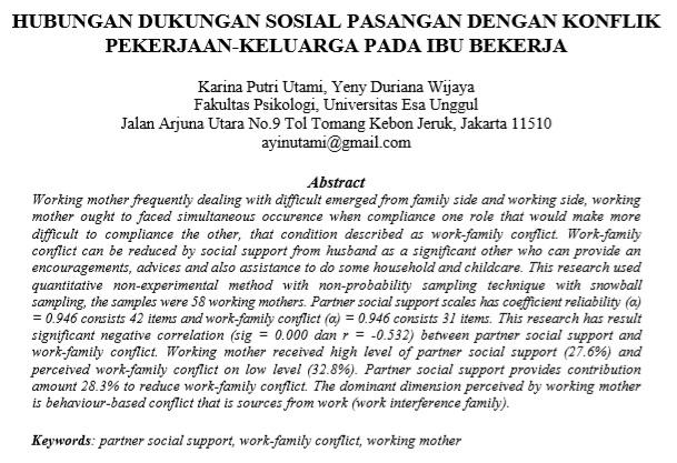 Hubungan Dukungan Sosial Pasangan Dengan Konflik Pekerjaan-Keluarga pada Ibu Bekerja