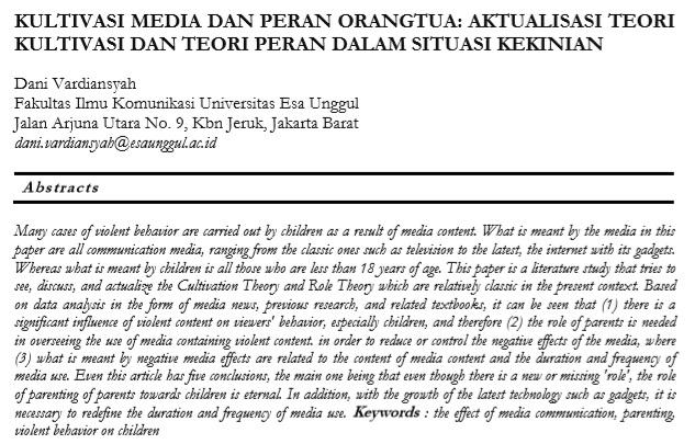 Kultivasi Media Dan Peran Orangtua Aktualisasi Teori Kultivasi Dan Teori Peran Dalam Situasi Kekinian