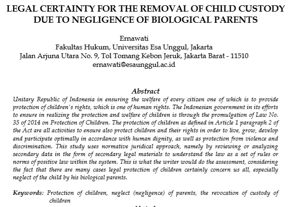 Legal Certainty For The Removal Of Child Custody Due To Negligence Of Biological Parents