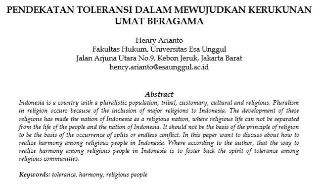 Pendekatan Toleransi Dalam Mewujudkan Kerukunan Umat Beragama