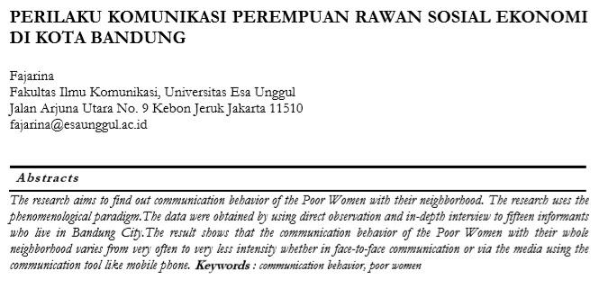 Perilaku Komunikasi Perempuan Rawan Sosial Ekonomi Di Kota Bandung