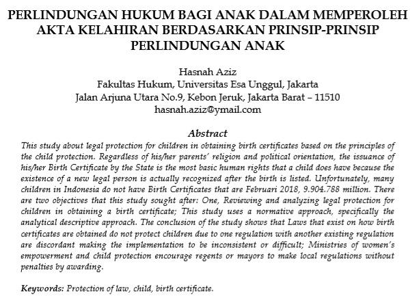 Perlindungan Hukum Bagi Anak Dalam Memperoleh Akta Kelahiran Berdasarkan Prinsip-Prinsip Perlindungan Anak