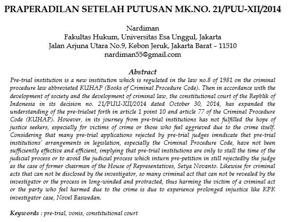 Praperadilan Setelah Putusan MK.NO.21/PUU-XII/2014