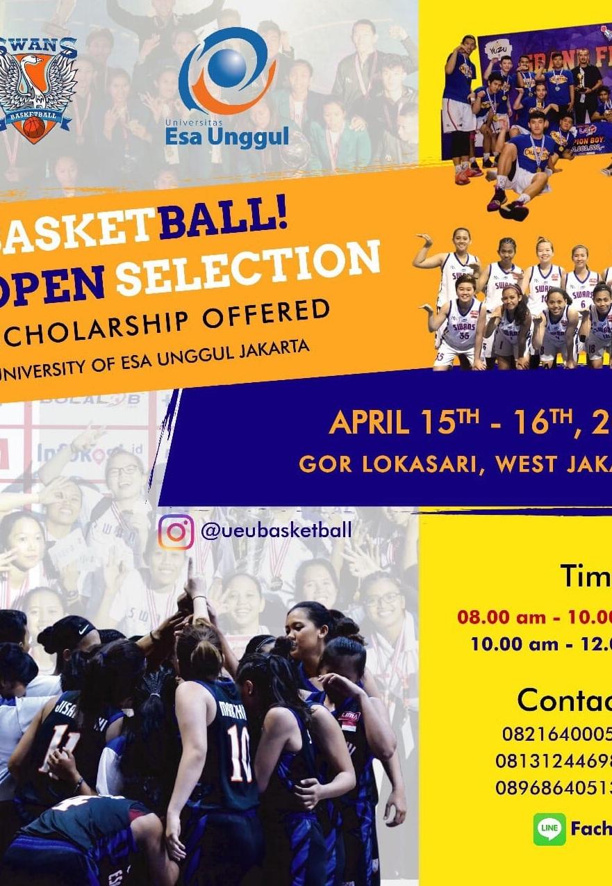 Open Selection Beasiswa Tim Basket The Swans Universitas Esa Unggul