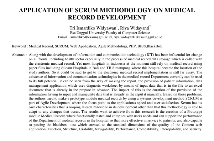 Application of SCRUM Methodology on Medical Record Development