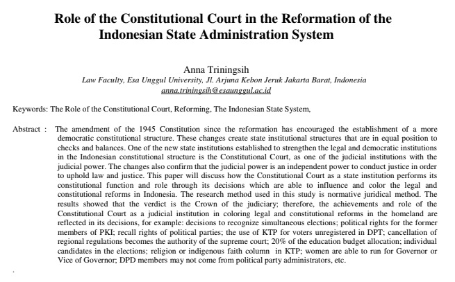 Role of the Constitutional Court in the Reformation of the Indonesian State Administration System
