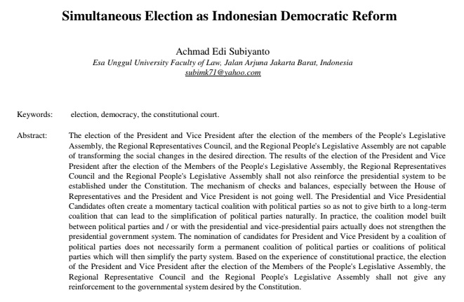 Simultaneous Election as Indonesian Democratic Reform