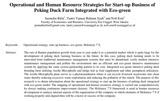 Operational and Human Resource Strategies for Start-up Business of Peking Duck Farm Integrated with Eco-green