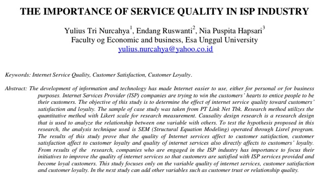 The Importance of Service Quality in ISP Industry