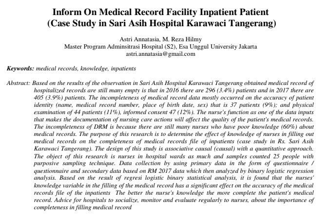 Inform On Medical Record Facility Inpatient Patient (Case Study in Sari Asih Hospital Karawaci Tangerang)