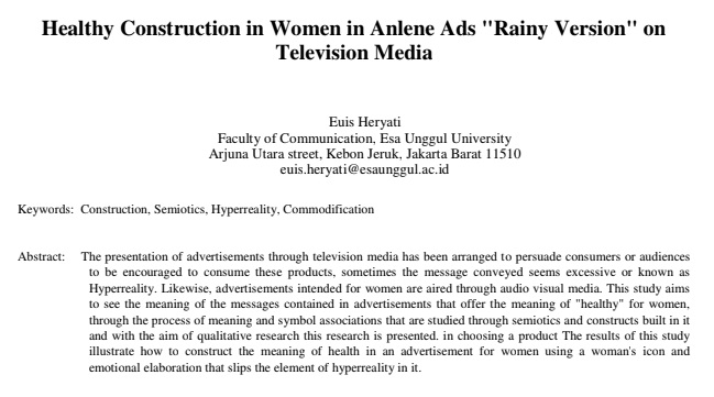 "Healthy Construction in Women in Anlene Ads ""Rainy Version"" on Television Media"