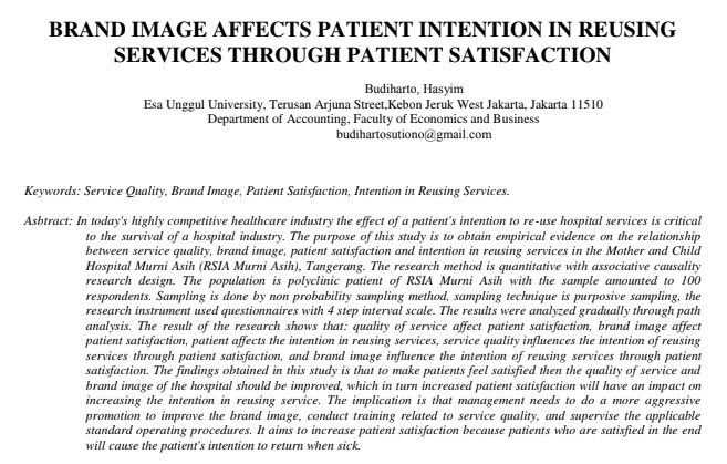 Brand Image Affects Patient Intention in Reusing Services Through Patient Satisfaction
