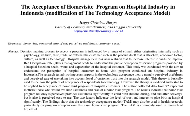 The Acceptance of Homevisite Program on Hospital Industry in Indonesia (modification of The Technology Acceptance Model)