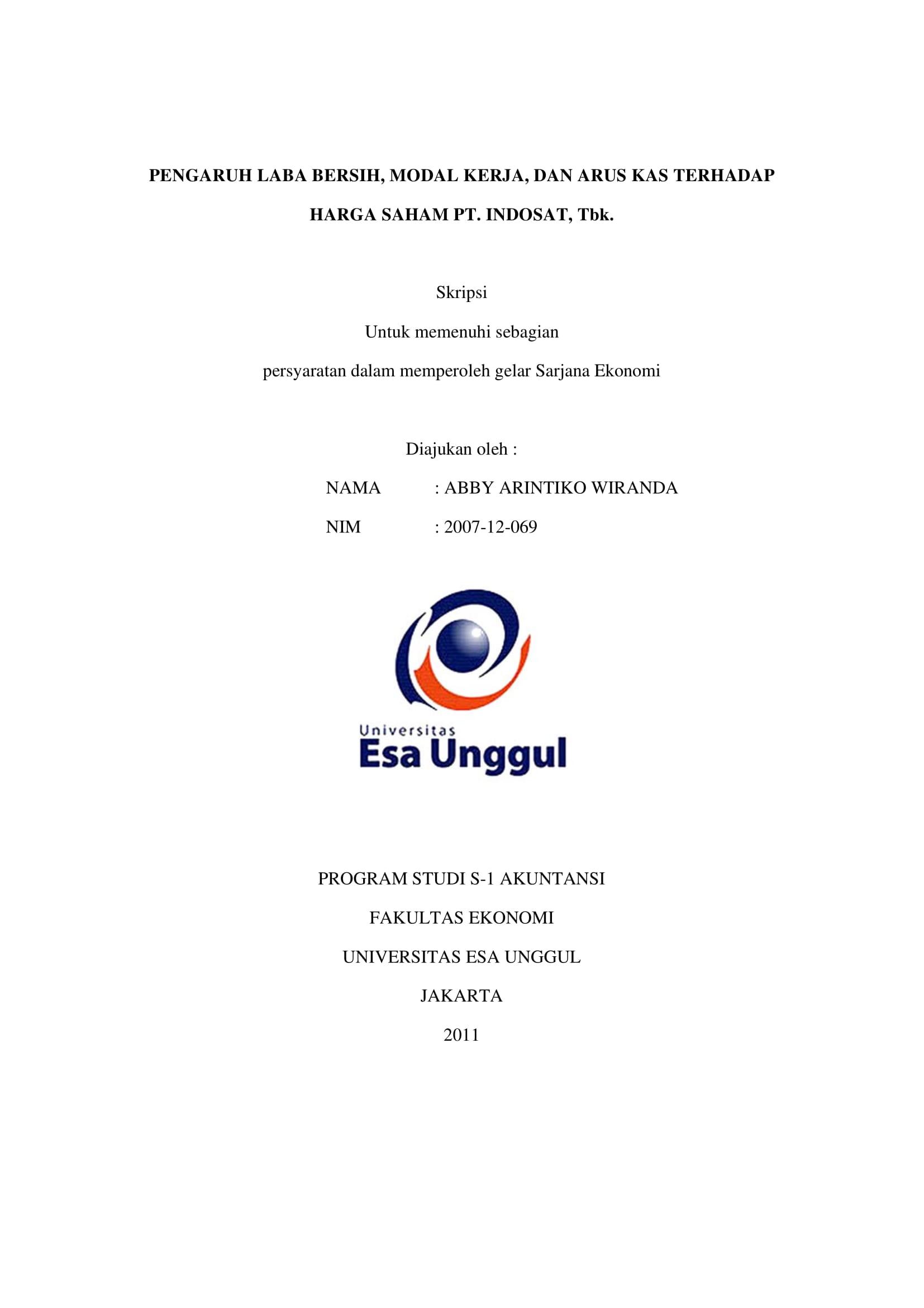 Pengaruh Laba Bersih, Modal Kerja, dan Arus Kas Terhadap Harga Saham PT. Indosat, Tbk.