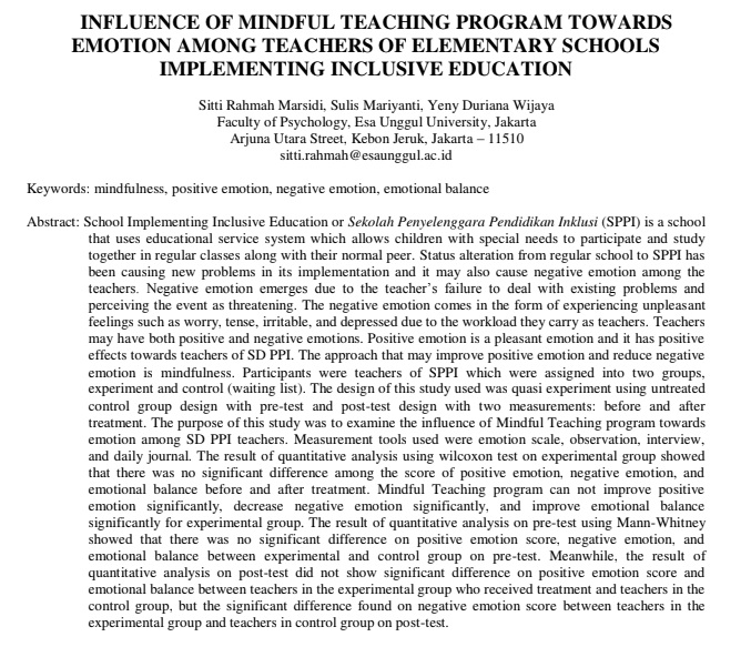 Influence of Mindful Teaching Program Towards Emotion Among Teachers of Elementary Schools Implementing Inclusive Education