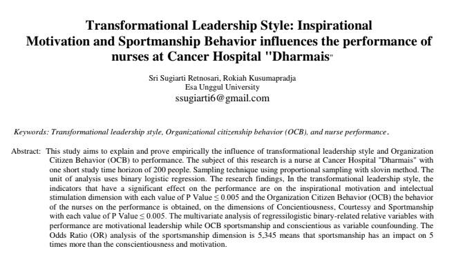 "Transformational Leadership Style: Inspirational Motivation and Sportmanship Behavior influences the performance of nurses at Cancer Hospital ""Dharmais"""