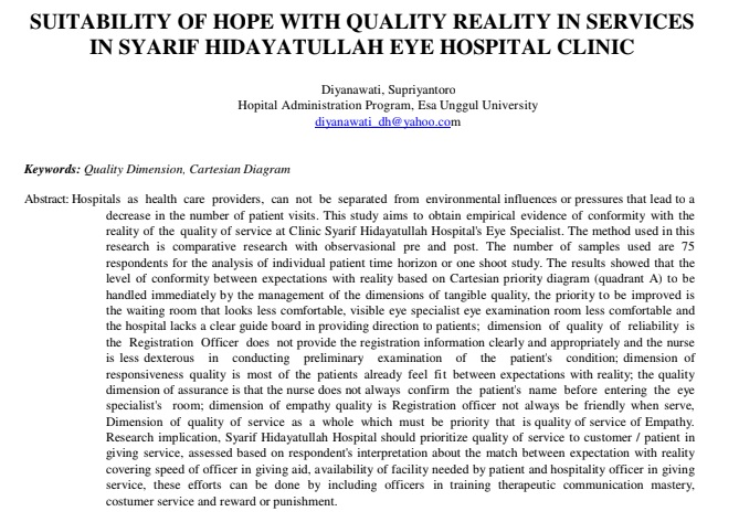 Suitability of Hope with Quality Reality in Service in Syarif Hidayatullah Eye Hospital Clinic