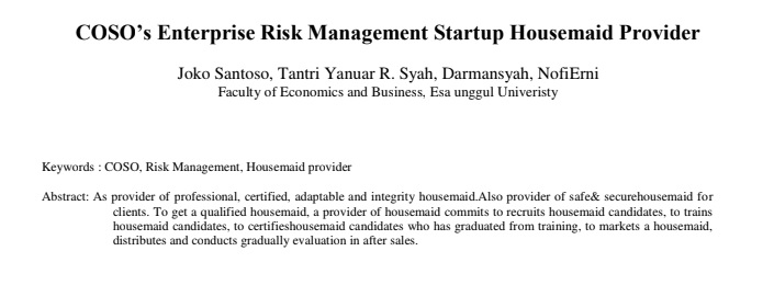 COSO's Enterprise Risk Management Startup Housemaid Provider