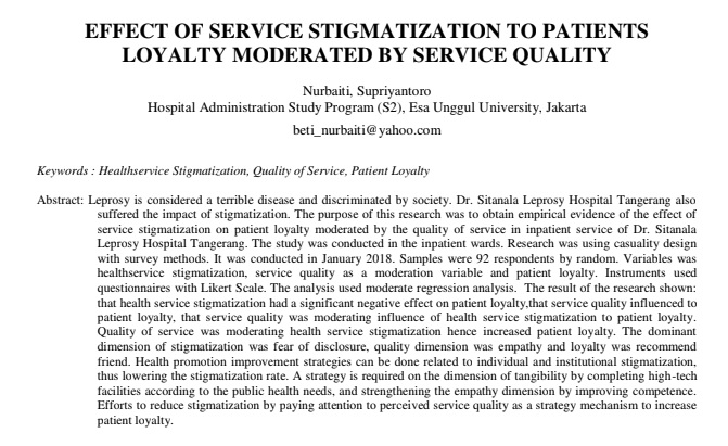 Effect of Service Stigmatization to Patients Loyalty Moderated by Service Quality