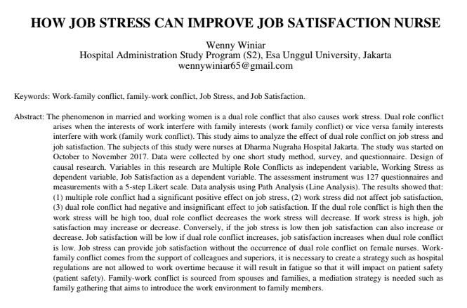 How Job Stress Can Improve Job Satisfaction Nurse