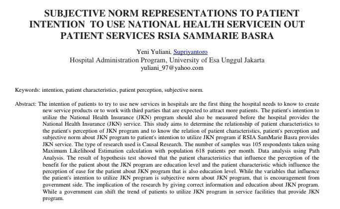 Subjective Norm Representations to Patient Intention to Use National Health Servicein Out Patient Services RSIA Sammarie Basra