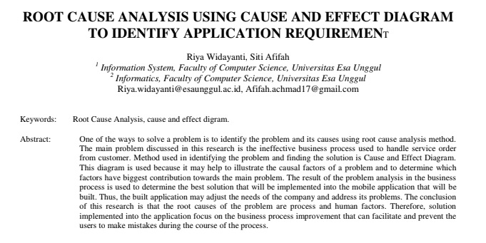 Root Cause Analysis Using Cause and Effect Diagram to Identify Application Requirement
