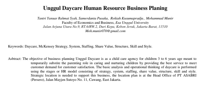 Unggul Daycare Human Resource Business Planing