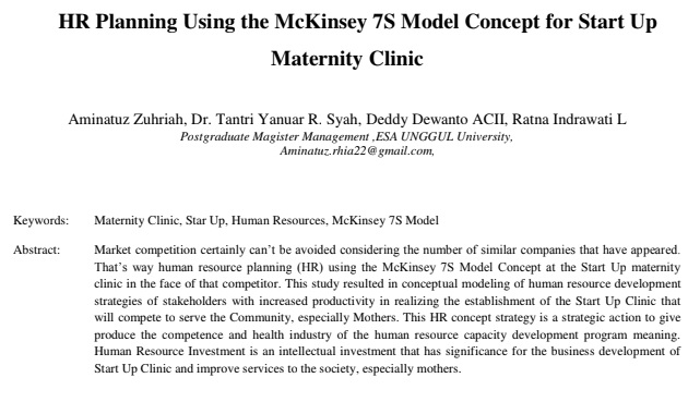 HR Planning Using the McKinsey 7S Model Concept for Start Up Maternity Clinic