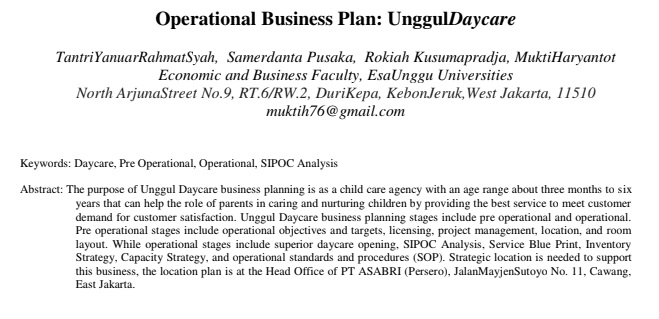 Operational Business Plan: UnggulDaycare