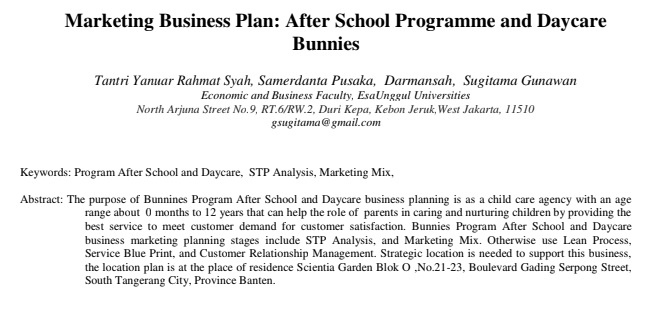 Marketing Business Plan: After School Programme and Daycare Bunnies