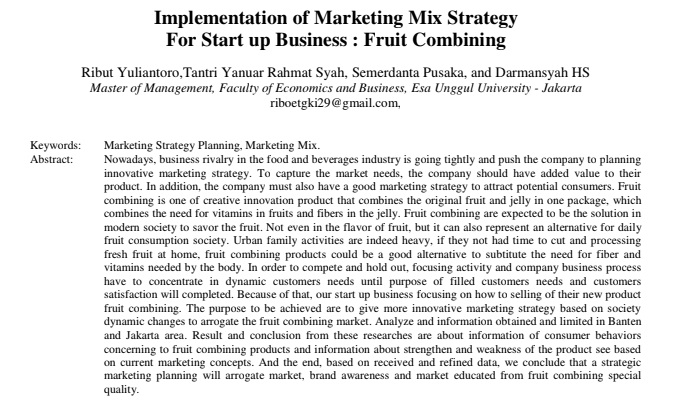 Implementation of Marketing Mix Strategy For Start up Business : Fruit Combining