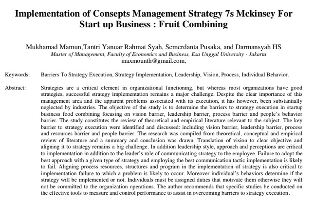 Implementation of Consepts Management Strategy 7s Mckinsey For Start up Business : Fruit Combining