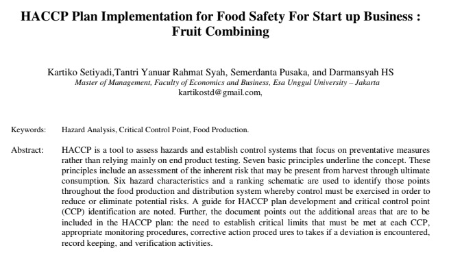 HACCP Plan Implementation for Food Safety For Start up Business : Fruit Combining