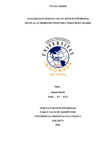 Analisis Dan Perancangan Sistem Informasi Penjualan Berbasis Web Pada Toko Buku Hamdi