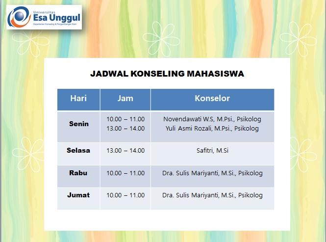 Jadwal Konseling Mahasiswa