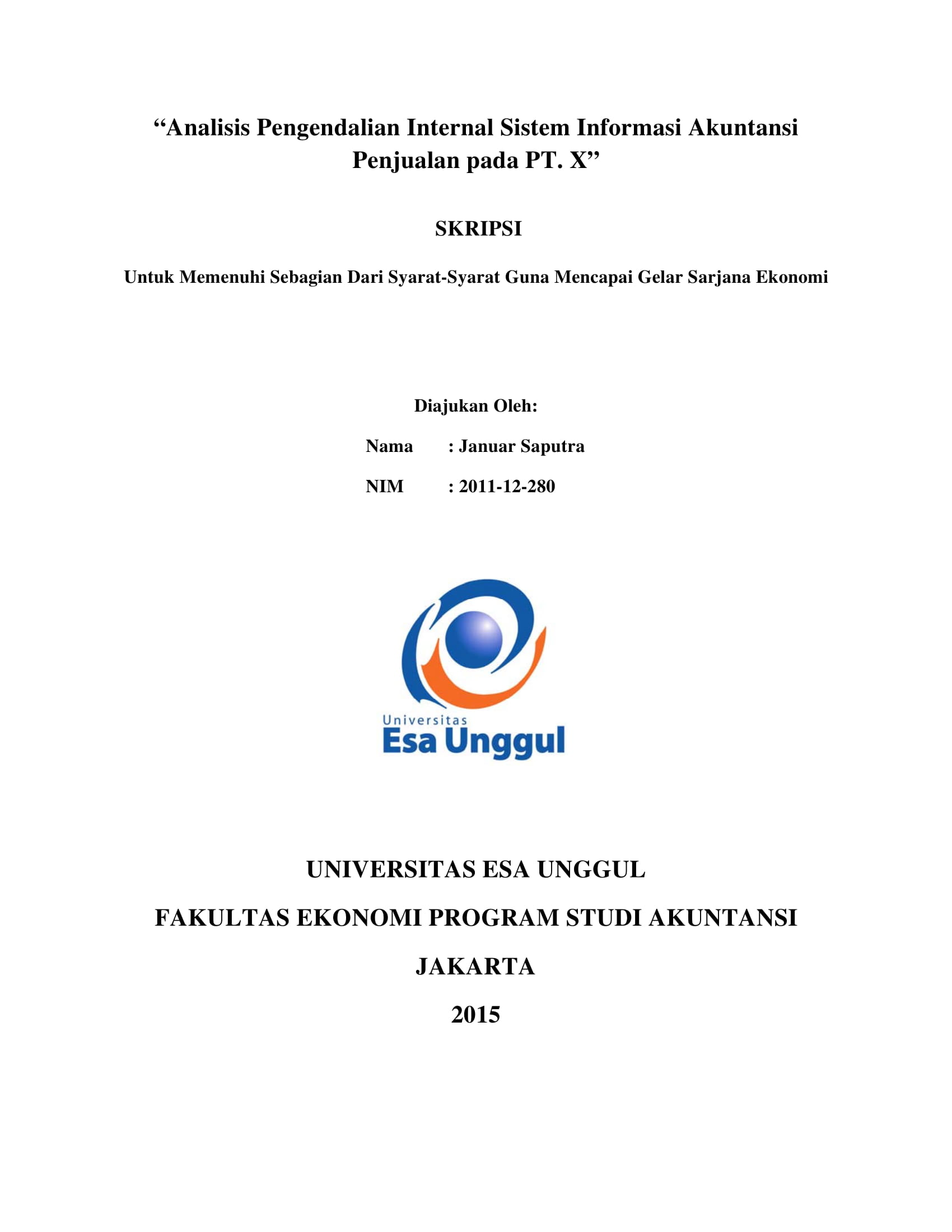 Analisis Pengendalian Internal Sistem Informasi Akuntansi Penjualan pada PT. X
