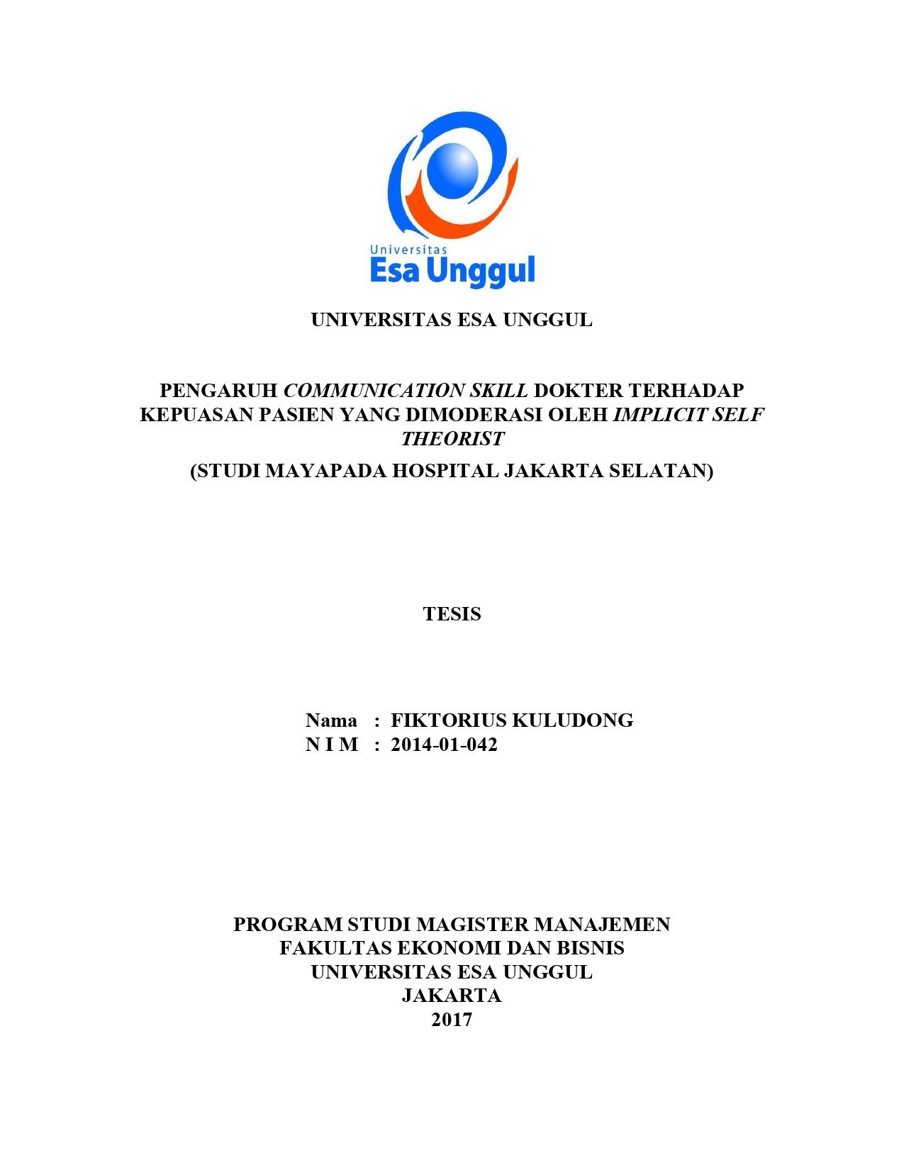 Koleksi Skripsi Tesis Dan Disertasi Universitas Esa Unggul