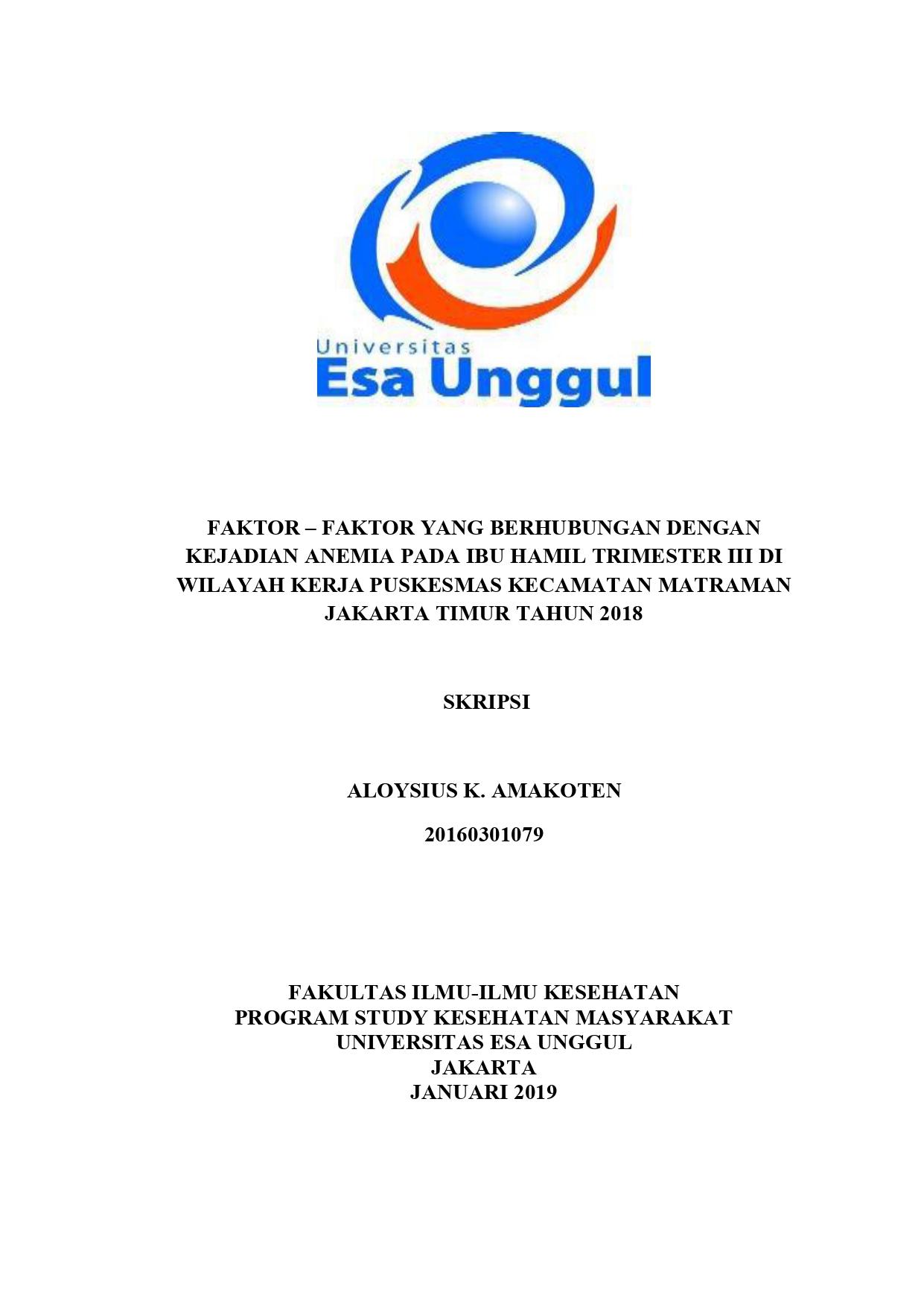 Faktor – Faktor Yang Berhubungan Dengan Kejadian Anemia Pada Ibu Hamil Trimester III di Wilayah Kerja Puskesmas Kecamatan Jakarta Timur Tahun 2018