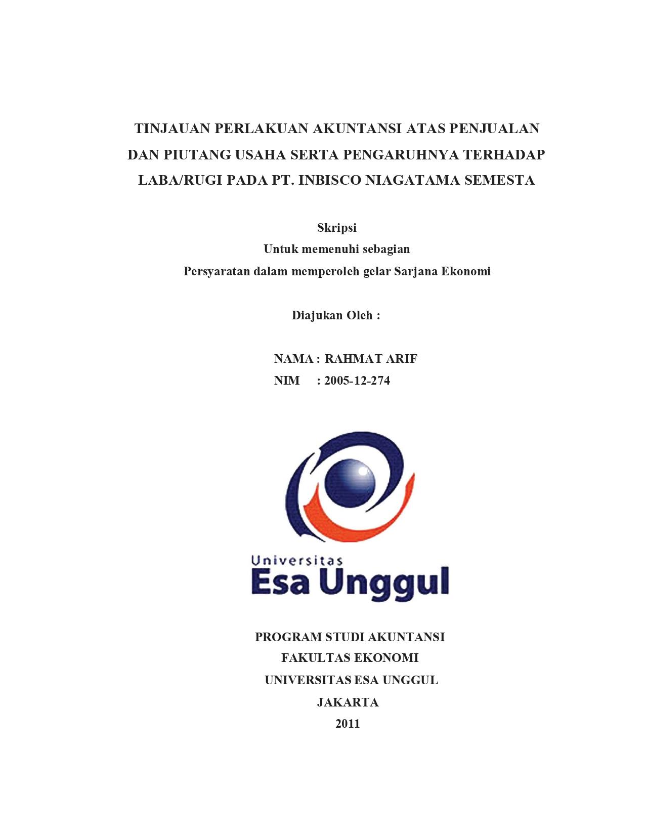 Tinjauan Perlakuan Akuntansi atas Penjualan dan Piutang Usaha serta Pengaruhnya Terhadap Laba/Rugi pada Pt. Inbisco Niagatama Semesta