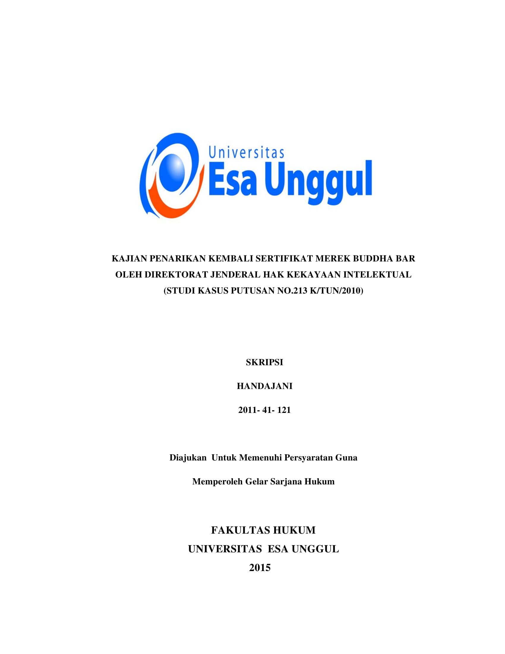 Kajian Penarikan Kembali Sertifikat Merek Buddha Bar oleh Direktorat Jenderal Hak Kekayaan Intelektual (Studi Kasus Putusan No. 213/K/TUN/2010)