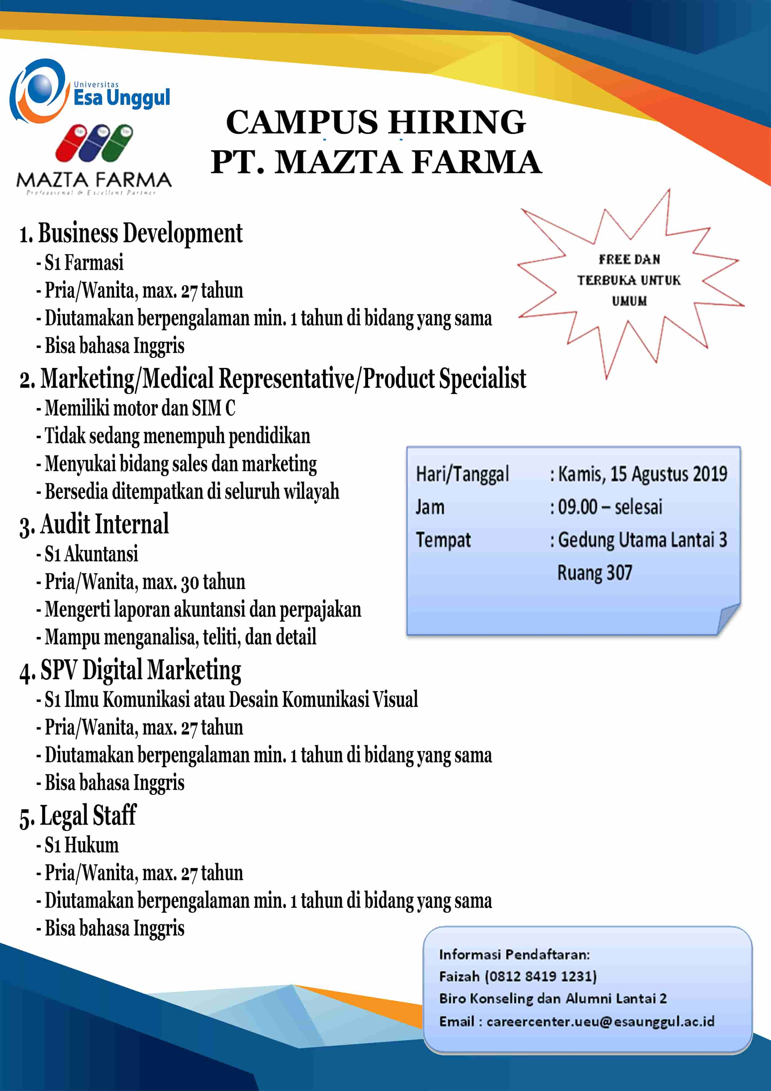 Campus Hiring PT. MAZTA FARMA