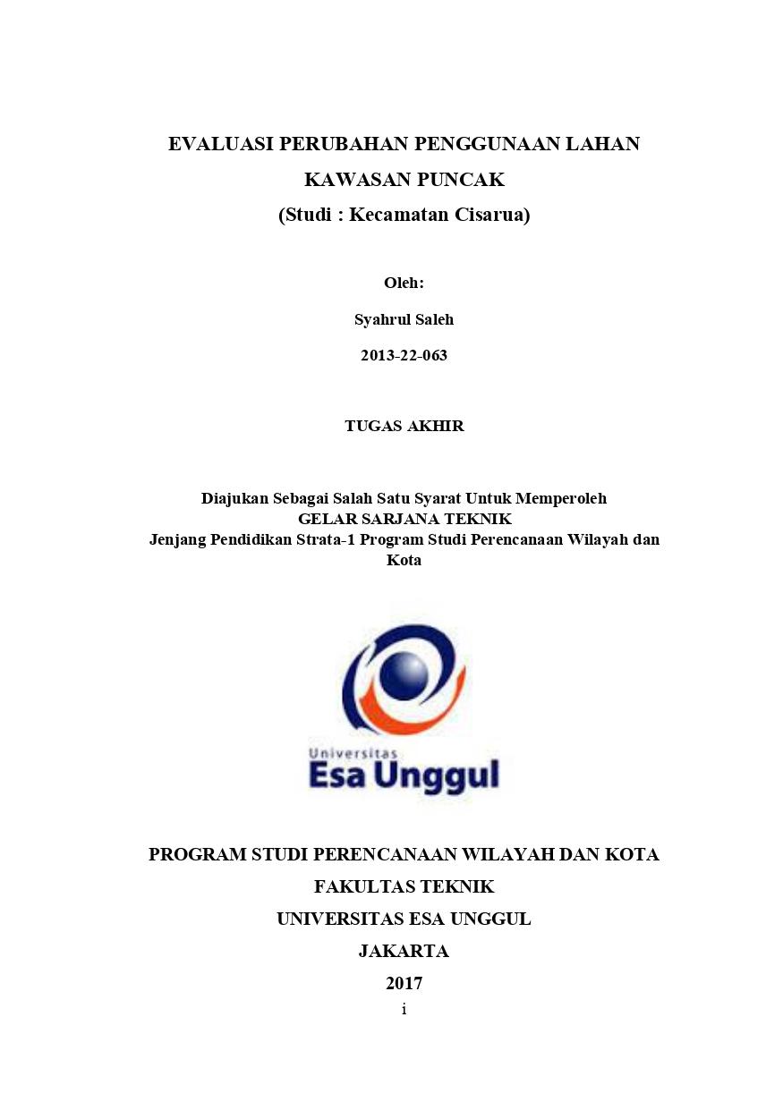 Evaluasi Perubahan Penggunaan Lahan Kawasan Puncak (Studi : Kecamatan Cisarua)