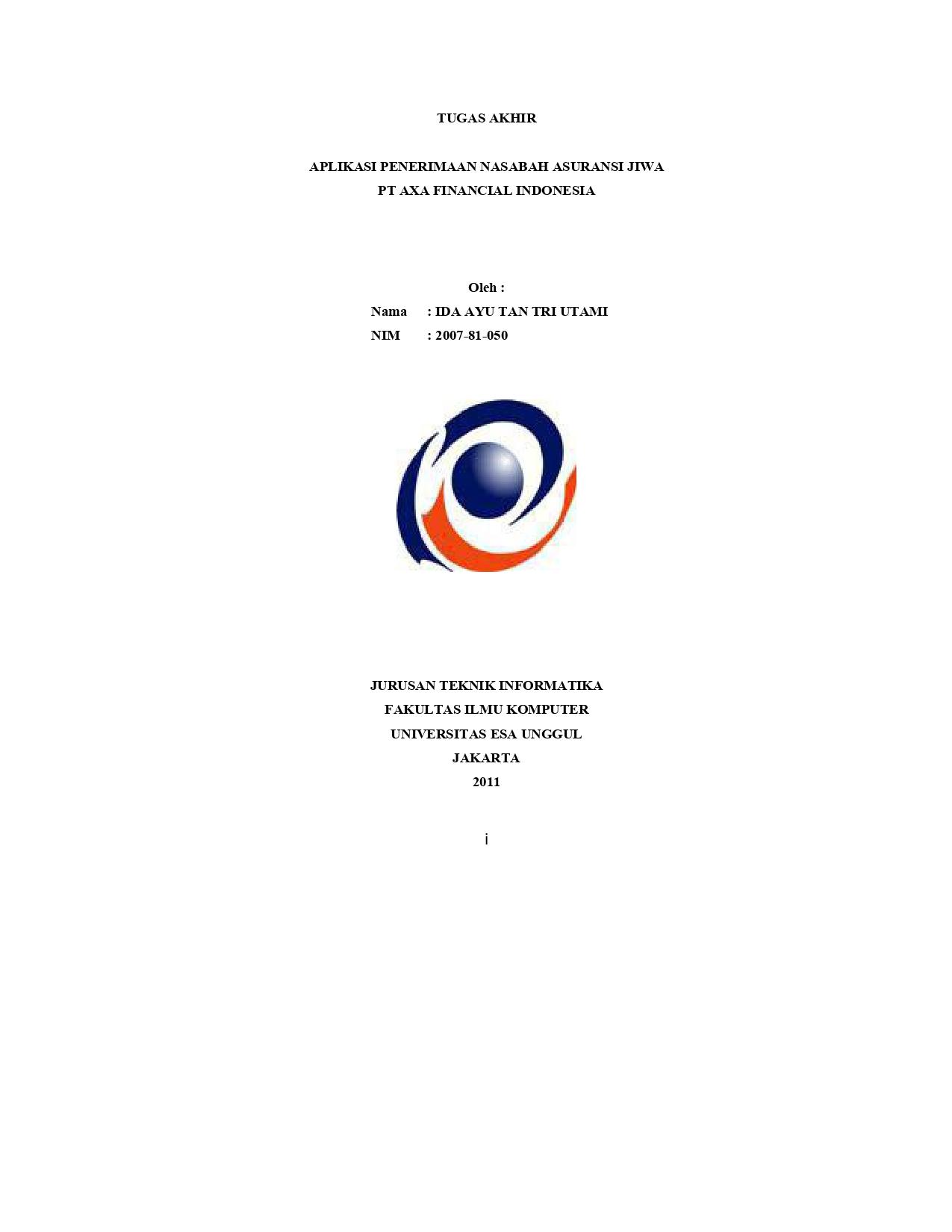 Aplikasi Penerimaan Nasabah Asuransi Jiwa PT Axa Financial Indonesia