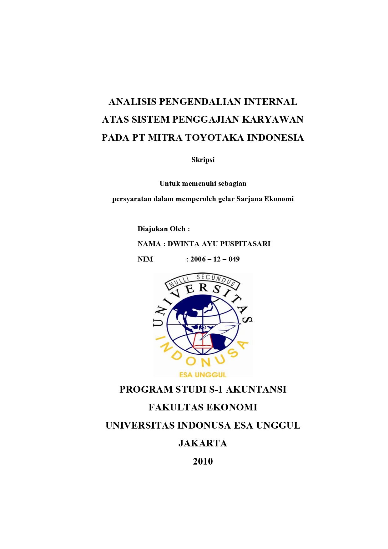 Analis Pengendalian Internal Atas Sistem Penggajian Karyawan pada PT Mitra Toyotaka Indonesia